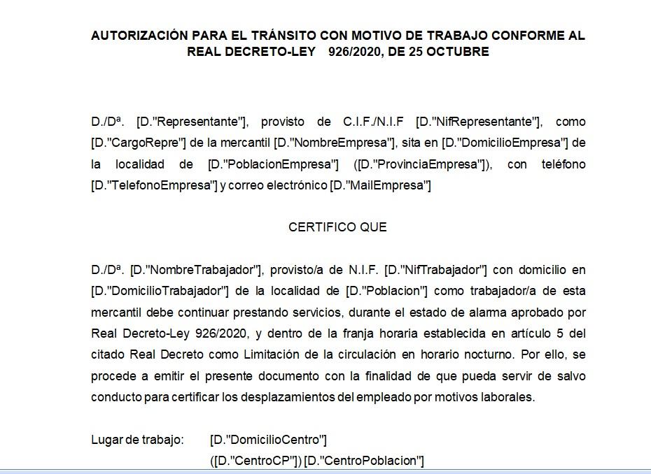 AUTORIZACION PARA EL TRANSITO CON MOTIVO DE TRABAJO CONFORME AL REAL DECRETO LEY 926/2020