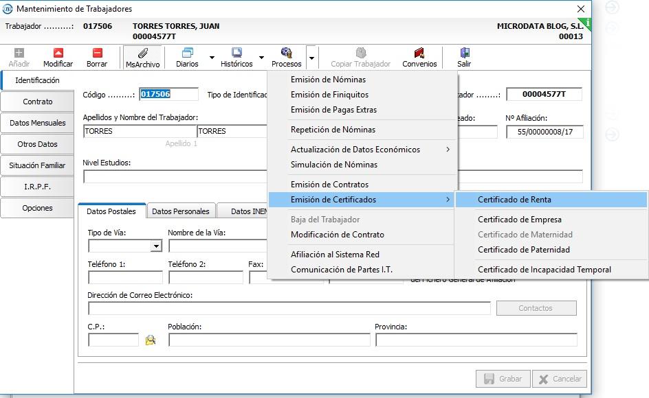 generar certificado renta nominas