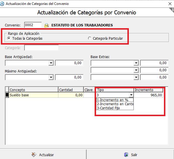 categorias salario minimo