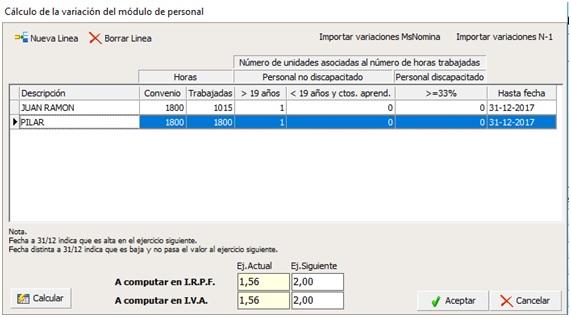 ejemplo variacion modulos iva declaraciones